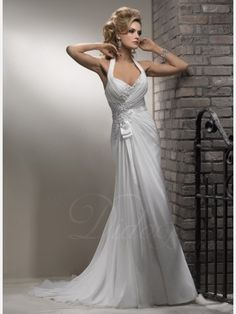 Sheath / Column Halter Court Train Chiffon Wedding Dress With Beaded  Appliques   Didobridal