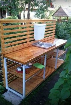 📌 39 outdoor space decor ideas, how to choose furniture for your outdoor space 28 Outdoor Sinks, Outdoor Kitchen Design, Outdoor Spaces, Outdoor Living, Garden Sink, Summer Kitchen, Wooden Pallets, Outdoor Projects, Backyard Patio