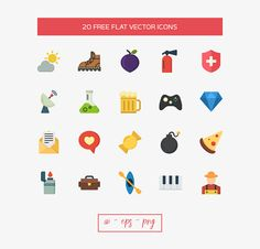 free 20 free flat vector icons