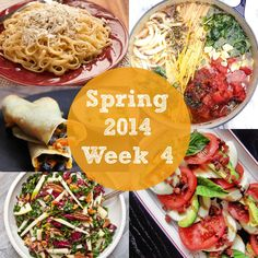 This week's meal plan is delicious with a one pot wonder tomato basil pasta, browned butter & mizithra pasta, a California caprese with pancetta and avocado, sweet potato and black bean taquitos, and a kale, pancetta, pecan, radicchio and apple salad. {Rainbow Delicious Spring 2014 Week 4 Meal Plan}