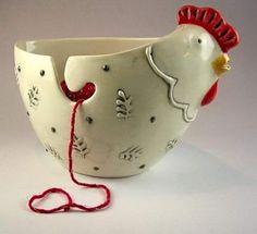 Cuenco lanero con gallina :)