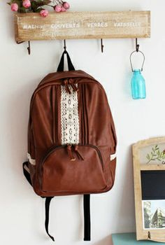 Coffee Break Vintage Crochet Lace and Pintuck Pleated Backpack in Medium Roast | Sincerely Sweet Boutique