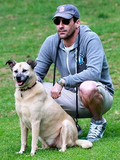 JON HAMM - Ok, I loved you before this photo, but now that I see you all cute and casual with your pup....little hearts are floating out of my eyes!