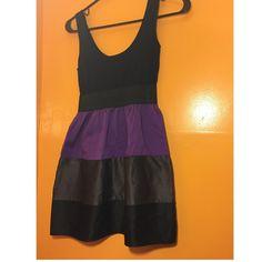 Mini Tank Dress  Black, purple and gray tank mini dress with circle skirt stripped bottom  Dresses Mini