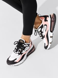 Nike Air Max 270 React in Black/white-bleached Coral-metallic Gold Related posts:Tod's - City Gommino Mokassins aus Leder, Schwarz, 39 - Shoes Tod'sTod'sWhite Round Toe Chunky Bow Sweet High-Heeled Shoes truques de estilo para. Air Max Sneakers, Moda Sneakers, Sneakers Mode, Sneakers Fashion, Nike Air Max, Nike Air Shoes, Nike Socks, Air Max Outfit, Aesthetic Shoes