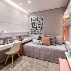 Awesome Quarto Decorado Feminino Moderno that you must know, Youre in good company if you?re looking for Quarto Decorado Feminino Moderno Tiny Bedroom Design, Small Room Design, Girl Bedroom Designs, Home Room Design, Room Ideas Bedroom, Small Room Bedroom, Home Bedroom, Bedroom Decor, Teen Room Designs