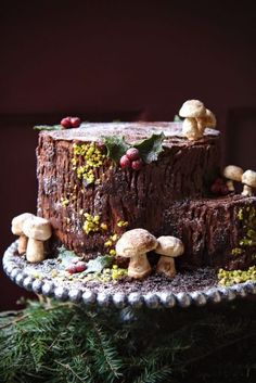 Yule log done vertically.La Pêche Fraîche 5 layers Eggnog cake filled with Whipped Chocolate Ganache Christmas Yule Log, Christmas Desserts, Christmas Treats, Christmas Baking, Christmas Cakes, Beautiful Cakes, Amazing Cakes, Cake Cookies, Cupcake Cakes
