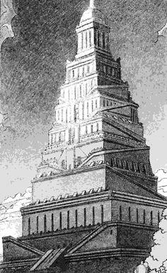 Tour de Babel par Schuiten Wild Bull, Epic Of Gilgamesh, Tower Of Babel, Book Creator, Bd Comics, Construction, Historical Art, Matte Painting, Ancient Symbols