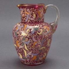 #Bohemian  --  Moser Cranberry Pitcher with Gilt Enameled Leaf