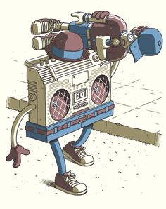 Funky vintage ghetto blaster boom box radio | tattoo ...
