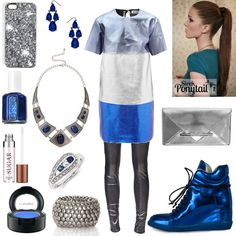 Fun color block metallic Acne dress in this edgy chic outfit for the Metal Mania fashion mission Edgy Chic, Chic Outfits, Fashion Forward, Metallic, Couture, Fun, Clothes, Accessories, Shoes