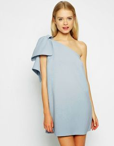 ASOS Shift Dress with Bow One Shoulder Only a few dresses have I wanted so badly Shift Dresses, Day Dresses, Cute Dresses, Evening Dresses, Afternoon Dresses, Flapper Dresses, Dress Outfits, Simple Dresses, Casual Dresses