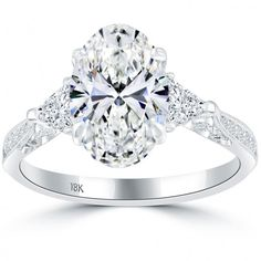 Fine Rings 2.92 Carat Round Cut Halo Diamond Engagement Ring Vs2/f White Gold 18k