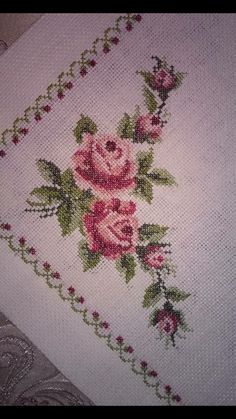This Pin was discovered by ilk Embroidery Neck Designs, Hand Embroidery Tutorial, Cross Stitch Heart, Cross Stitch Flowers, Cross Stitch Designs, Cross Stitch Patterns, Hobbies And Crafts, Diy And Crafts, Baby Knitting Patterns