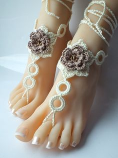 Crochet Barefoot Sandals Nude shoes Foot Jewelry by Selanestore, $12.00