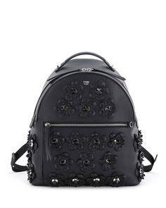 FENDI Floral-Appliqué Leather Backpack 0688a295d5ab