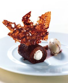 Gingerbread Cake With Milk Chocolate Mousse Swirled Colombian Coffee Ice Cream | Recipes | #plating #presentation