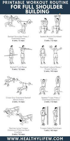 7 FULL SHOULDER WORKOUT FOR BODYBUILDING. Ever wаntеd full shoulder workout that will give you a monstrous shoulder look? Find out what you need to do for full shoulder workout for bodybuilding. Pec Workouts, Gym Workouts For Men, Effective Ab Workouts, Lower Ab Workouts, Chest Workouts, Fitness Workouts, Full Shoulder Workout, Shoulder Workouts For Men, Shoulder Exercises