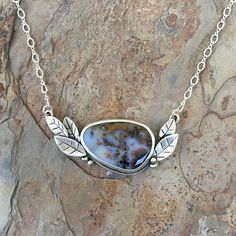 Dendritic Opal and Fine Silver Necklace. Handmade Jewelry.