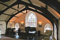 Gothic chapel in Kingston, Devon, transformed into fishing lodge.