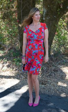 Blogger The Rich Life on A  Budget in our Cherry Floral Blooms Trudy dress.