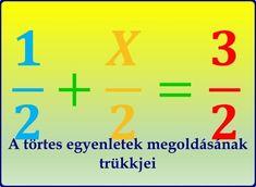 A törtes egyenletek megoldásának trükkjei - Tanulj könnyen! Math Equations, English, English English, English Language