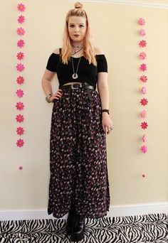VINTAGE 90S GRUNGE FLORAL DITSY PATTERN MIDI MAXI SKIRT