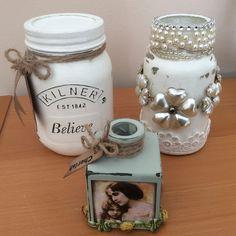 Painted Kilner jar and bottles