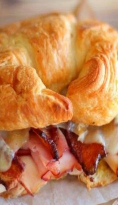 Ham, Turkey and Bacon Croissant Melt. (These sandwiches would also be very good on Hawaiian Sweet Bread or Rolls!)