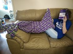Mermaid Lapghan - Just a whimsical and fun way to stay warm and snuggly! Free pattern! --LO