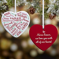 Buy personalized heart ornaments with our Close to Her Heart design and add up to 21 names and optional message on the back. Great family ornament for big families. Family Christmas Ornaments, Family Ornament, Heart Ornament, Personalized Christmas Ornaments, Christmas Love, All Things Christmas, Christmas Crafts, Christmas Decorations, Christmas Ideas