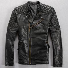 2016 Men Leather Biker Jacket Black Stand Collar Genuine Sheepskin Slim Fit Men Oblique Zipper Motorcycle Coat FREE SHIPPING