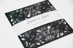 Laser cut Wedding Invitation, with personalised belly band - choice of colours - Personalised sample by InvitedinStyle on Etsy