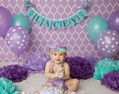 FIRST BIRTHDAY GIRL Banner / Shabby chic birthday banner / Cake smash banner / Shabby chic nursery / Smash cake. Purple and teal baby shower 1st Birthday Photoshoot, Baby Girl 1st Birthday, Cake Birthday, 1st Birthday Girl Party Ideas, Purple Birthday, Little Mermaid Birthday Cake, Birthday Banners, Birthday Parties, Teal Baby Showers