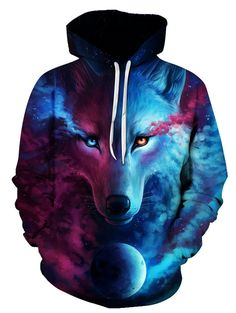 3D Trippy Wolf Print Pullover Hoodie - COLORMIX XL