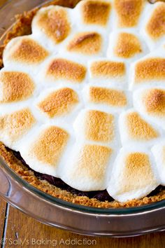 Homemade Smores Brownie Pie! Look at all of those toasty marshmallows. It's truly an easy dessert to make.