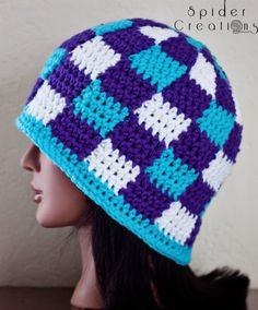 Turquoise, Purple, and White Gingham/Plaid Beanie Hat. $18.00, via Etsy.