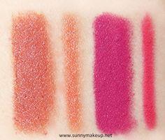 Swatch Neve Cosmetics - Sisters of Pearl. Matite labbra Duebaci nelle colorazioni Treasure, Mermaid.