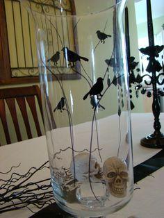 Halloween Hurricane Glass. Hand-painted using stencils.