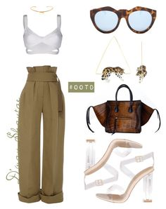 #OOTD - Rosie Assoulin Pants, Celine Bag, Ego Official Sandals by adswil on Polyvore featuring polyvore fashion style Moschino Rosie Assoulin Nach Isabel Marant Le Specs clothing