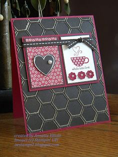 """RECIPE:  stamps: Hearts a Flutter and Patterend Occasions  paper: Raspberry Ripple, Early Espresso, Print Poetry DSP, and Early  Espresso Core'dinations card stock  ink: Raspberry  Ripple, Early Espresso and Versa Mark inks.  accessories: White Embossing powder, Hearts a Flutter Framelits, Honeycomb folder, Itty Bitty Shapres punch, Basic Pearls, and Early Espresso 1/4"""" Stitch Grosgrain Ribbon."""