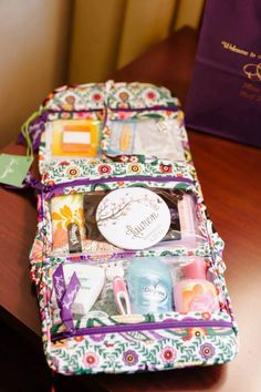 """""""The bride chose the best and most useful bridesmaids' gifts (Vera Bradley bags filled with things we may need on the big day, pictured below) and the cutest bridesmaids' robes"""""""