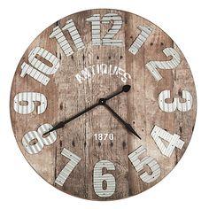 horloge gare metal bois murale style industriel 93 cm horloge et m taux. Black Bedroom Furniture Sets. Home Design Ideas