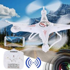 WIFI FPV system allows real time image transmission with WIFI connection between the quadcopter and your phone. HD camera with high 2-mega-pixel, give you a clear view as you were just there. With phone holder, you can hold your phone on the transmitter conveniently. Throwing flight function a...