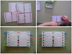 MATERIALES - Lectoescritura con pinzas 2 (en castellano y en valenciano).  Para realizar este juego, plastificaremos las dos láminas que aparecen en cada hoja de manera que se vea por un lado las imágenes con las palabras y por el otro las mismas imágenes con las caritas triste y sonriente para autocorregirse.  http://arasaac.org/materiales.php?id_material=1175