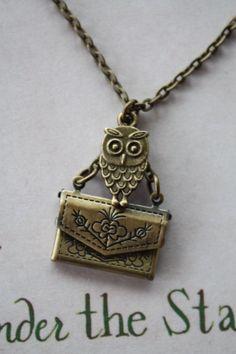 Harry Potter 'Owl Post' Necklace by PrettyLittleCharmsUK on Etsy