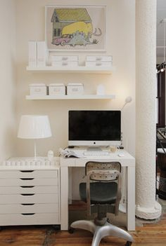 A tiny home office doesnt' mean you have to sacrifice style and storage! Adding floating shelves is a great idea!