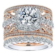 DIAMOND ENGAGEMENT RINGS - 18K Rose And White Gold Stacked Multi-Band Vintage Diamond Engagement Ring