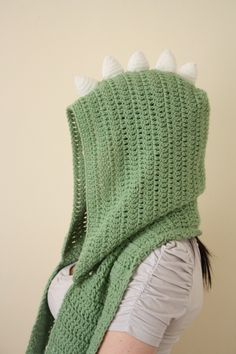 Dinosaur Hodded Scarf with Pockets by BeeLiciousCrafts on Etsy