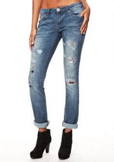 Spoon Destructed Plaid Detail Straight Leg Jean